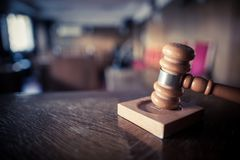 Hammer in a courtroom. Color image of a hammer in a courtroom stock photos