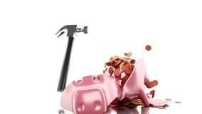 Hammer 3d, der Sparschwein mit Goldmünzen bricht stock abbildung