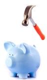 Hammer, der geht, Piggy Querneigung zu zertrümmern Lizenzfreie Stockbilder