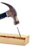 Hammer, der Nagel auf dem Kopf schlägt Stockbild