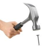 Hammer in der Tätigkeit, getrennt auf Weiß Lizenzfreie Stockfotografie