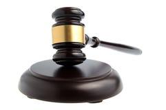 Hammer des Richters lokalisiert auf Weiß Stockfoto
