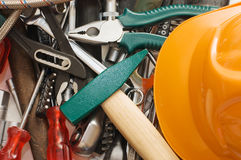 Hammer and different tools Royalty Free Stock Photo