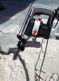 Hammer drill in concrete brick Royalty Free Stock Photo