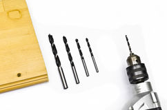 Hammer Drill With Drill Bits Display Royalty Free Stock Photography