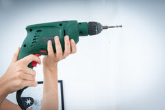 Hammer drilling Stock Photo