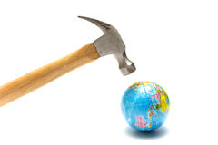 Hammer with earth ball Royalty Free Stock Image