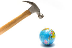 Hammer with earth ball Stock Photography