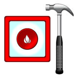 Hammer and fire box. Hammer and fire alarm button box over white background Stock Photo