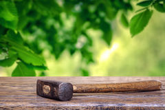 Hammer in the garden Royalty Free Stock Photography