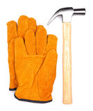 Hammer with gloves isolated on a white background Royalty Free Stock Image