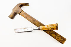Hammer and gouge Stock Photo
