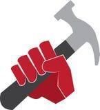 Hammer Hand. Red hand holding a hammer vector illustration