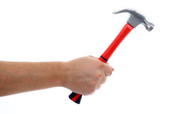 Hammer in Hand Isolated. On white, hitting blank copy space royalty free stock photo