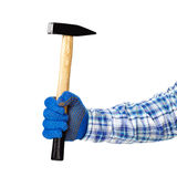 Hammer in hand. Working hand with protection glove holding hammer isolated on white background Stock Photography