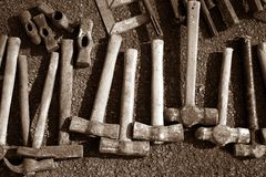 Hammer handtools hand tools collection pattern Stock Image