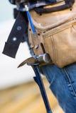 Hammer Hanging In Tool Belt Of Carpenter Royalty Free Stock Image