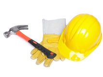Hammer Hard Hat And Leather Gloves Stock Photos