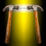 Hammer head and concrete nails Stock Image