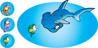 Hammer Head Shark. Small scared fish in a big big pond! A cartoon  illustration of a hungry hammerhead shark with the option of 3 different scared little fish Stock Images