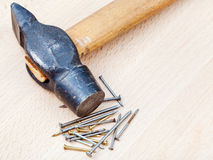 Hammer and heap of nails Royalty Free Stock Photo