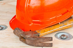 hammer and  helmet Stock Photo