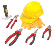 Hammer,helmet,gloves,spanner,pliers,nippers,cutter,wrench Stock Image