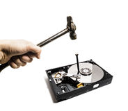 A hammer hits a nail into the hard drive from the computer Royalty Free Stock Photo