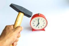 Hammer Hitting Alarm clock ,  on white. Hard wake concept stock photo
