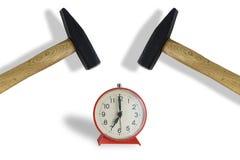 Hammer Hitting Alarm clock , isolated on white. Hard wake concept royalty free stock photos