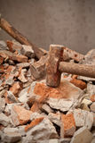 Hammer hitting on brick Royalty Free Stock Images