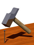 Hammer hitting a nail. A virtual 3d hammer hitting a nail on a wood surface Vector Illustration