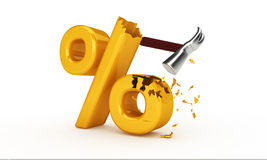 Hammer hitting percent sign. Three dimensional illustration of hammer hitting and breaking percentage sign; business price reduction concept; isolated on white Royalty Free Stock Images