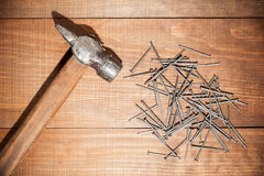 Hammer and and hobnails Stock Image