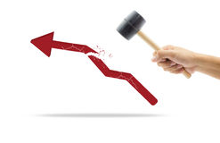 Hammer in human hand breaking increasing graph. On white background Stock Image