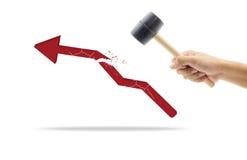 Hammer in human hand breaking increasing graph Stock Image