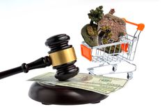 Hammer of judge with dollars and model of house in trolley isola Royalty Free Stock Image