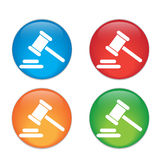 Hammer judge icon. gavel law legal hammer. Glass Stock Photography