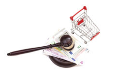Hammer of judge, pushcart and euro money Stock Images