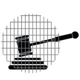 Hammer justice with bars vector Stock Photos