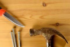 Hammer, knife and nails Royalty Free Stock Photo