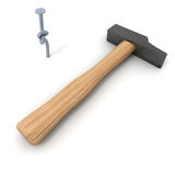 Hammer and knotted nail Stock Photography