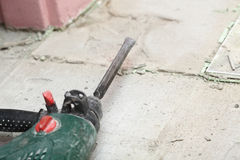Hammer mason work floor tool Royalty Free Stock Image
