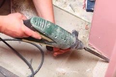 Hammer mason work floor tool Stock Image