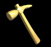 Hammer in metal gold isolated (3D) Royalty Free Stock Images