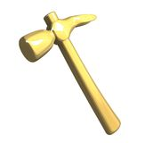 Hammer in metal gold isolated (3D) Stock Photos