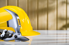 Hammer and metall cutter with helmet Royalty Free Stock Photos