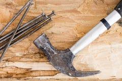 Hammer mit Nägeln Lizenzfreie Stockfotografie