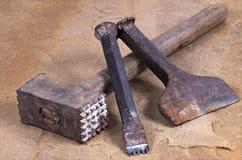 Hammer mit zwei Meißeln Lizenzfreie Stockfotos
