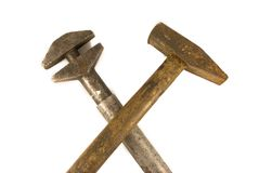 Hammer and monkey wrench. Crossed hammer and monkey wrench isolated on the white background Stock Photo